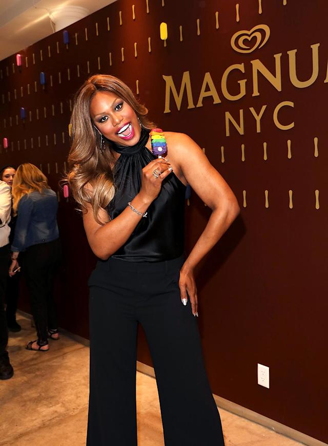 <p>Somebody's sweet on ice cream! The <i>Orange Is the New Black</i> actress and advocate helped GLAAD and Magnum celebrate LGBTQ pride month with a special Pride Magnum bar at the ice cream maker's New York City shop. (Photo: Amy Sussman/Invision for MAGNUM/AP Images) </p>