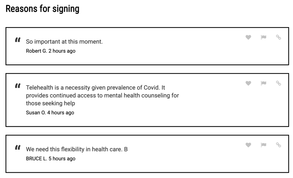Supporters of Brokamp's petition listed their reasons for signing. (Screenshot: MoveOn.org)