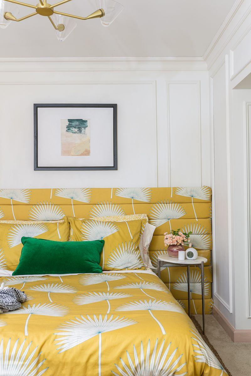 """<p>No windows? No problem. White walls and a sunny yellow bedscape go a long way toward brightening this teenage girl's basement bedroom. The <a href=""""https://jeweledinteriors.com/2019/07/horizontal-channel-tufted-headboard-and-matching-bedding-reveal/"""" rel=""""nofollow noopener"""" target=""""_blank"""" data-ylk=""""slk:DIY tutorial"""" class=""""link rapid-noclick-resp"""">DIY tutorial</a> for this horizontal channel tufted headboard is truly inspired.</p><p><strong>See more at <a href=""""https://jeweledinteriors.com/2020/03/teenage-girl-bedroom-reveal/"""" rel=""""nofollow noopener"""" target=""""_blank"""" data-ylk=""""slk:Jeweled Interiors"""" class=""""link rapid-noclick-resp"""">Jeweled Interiors</a>. </strong></p><p><a class=""""link rapid-noclick-resp"""" href=""""https://go.redirectingat.com?id=74968X1596630&url=https%3A%2F%2Fwww.walmart.com%2Fip%2FPhantoscope-Soft-Silky-Velvet-Series-Decorative-Throw-Pillow-18-x-18-Turquoise-2-Pack%2F413168903&sref=https%3A%2F%2Fwww.redbookmag.com%2Fhome%2Fg36061437%2Fbasement-ideas%2F"""" rel=""""nofollow noopener"""" target=""""_blank"""" data-ylk=""""slk:SHOP VELVET PILLOWS"""">SHOP VELVET PILLOWS</a></p>"""