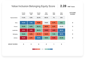 Workday's VIBE Index delivers a heat map identifying opportunities for positive change and a score representing an organization's overall workplace equity.