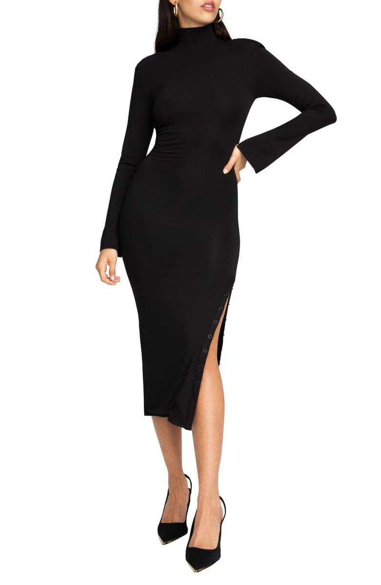 <p>This <span>Good American Ribbed Mock Neck Long Sleeve Midi Dress</span> ($89, originally $119) is sleek and comfortable. You'll want to wear it all the time.</p>