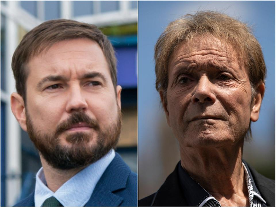 Martin Compston in Line of Duty (left) and Sir Cliff Richard (right) (BBC/Getty)