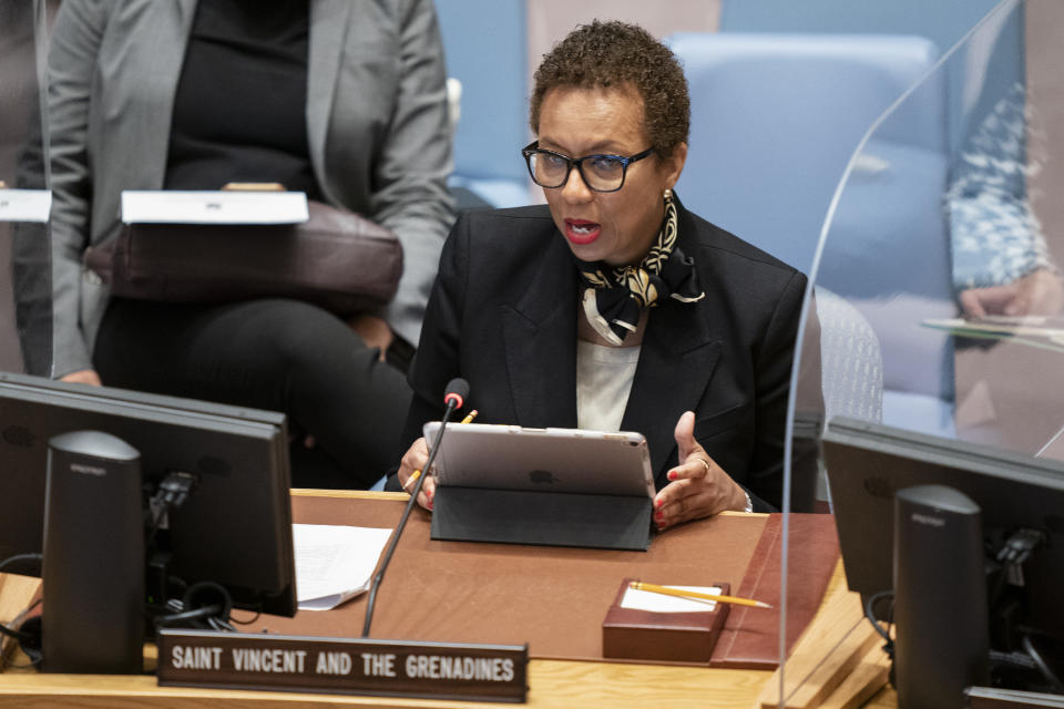 Inga Rhonda King, permanent representative of Saint Vincent and the Grenadines to the United Nations, speaks during a meeting of the United Nations Security Council, Thursday, Sept. 23, 2021, during the 76th Session of the U.N. General Assembly in New York. (AP Photo/John Minchillo, Pool)