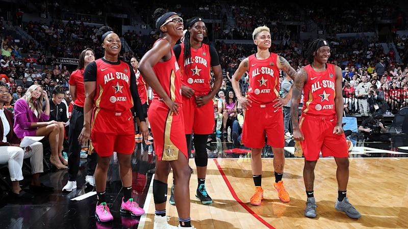 WNBA players, pictured here during the 2019 All-Star Game.