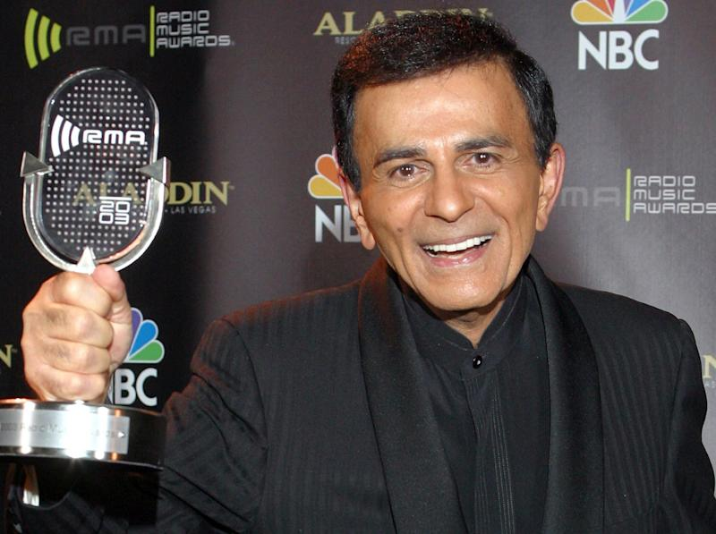FILE - In this Oct. 27, 2003 file photo, Casey Kasem poses for photographers after receiving the Radio Icon award during The 2003 Radio Music Awards in Las Vegas. A Los Angeles judge ruled Tuesday Nov. 19, 2013 that a conservatorship is not necessary for Kasem but urged attorneys for his wife and three of his adult children to reach an agreement that will allow the children to visit their ailing father. (AP Photo/Eric Jamison, File)