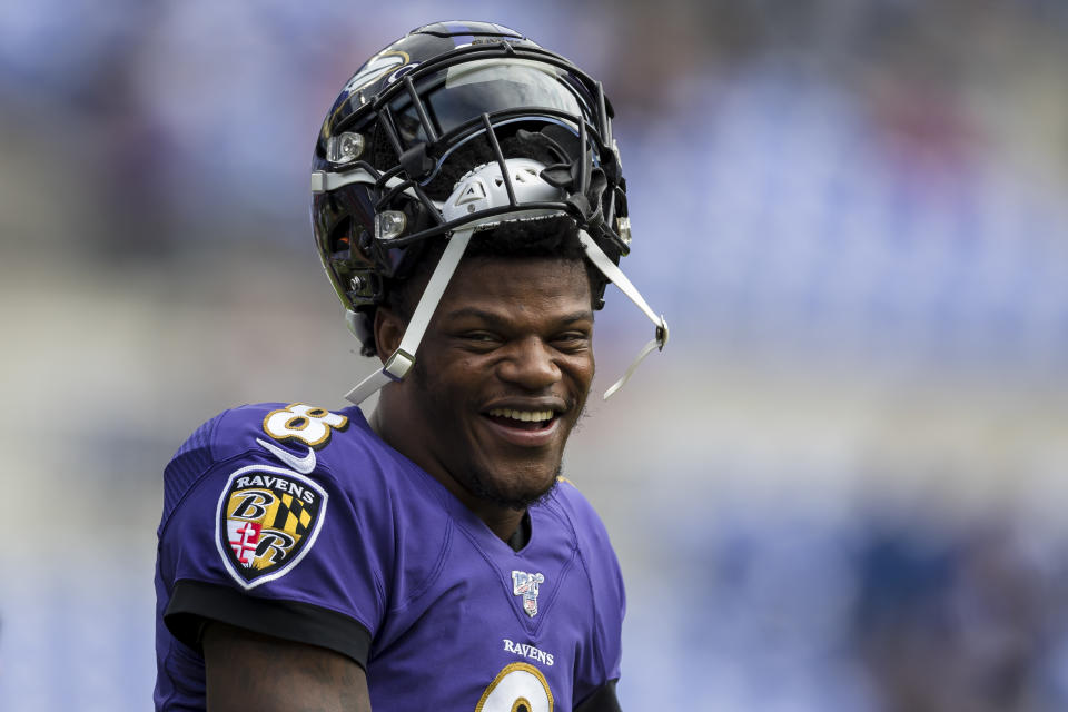 """Baltimore Ravens quarterback Lamar Jackson won the 2019 NFL MVP and will grace the cover of the """"Madden"""" video game series this season. (Photo by Scott Taetsch/Getty Images)"""