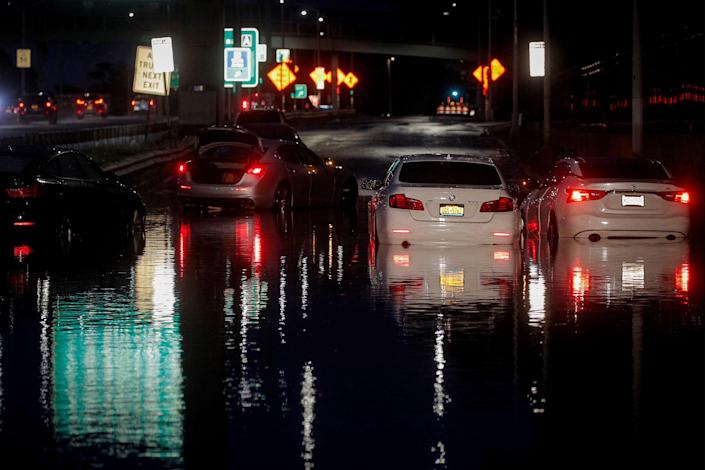 flooded cars in queens new york from ida