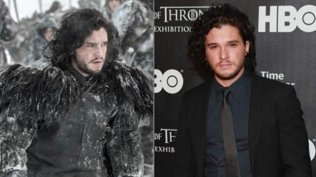 Kit Harington as Jon Snow in 'Game of Thrones,' and Kit Harington on a red carpet at a 'Game of Thrones' event -- Getty ImagesHelen Sloan/HBO