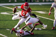 Rutgers quarterback Noah Vedral (0) is brought down by Indiana defensive back Tiawan Mullen (3) during the second quarter of an NCAA college football game Saturday, Oct. 31, 2020, in Piscataway, N.J. (AP Photo/Corey Sipkin)