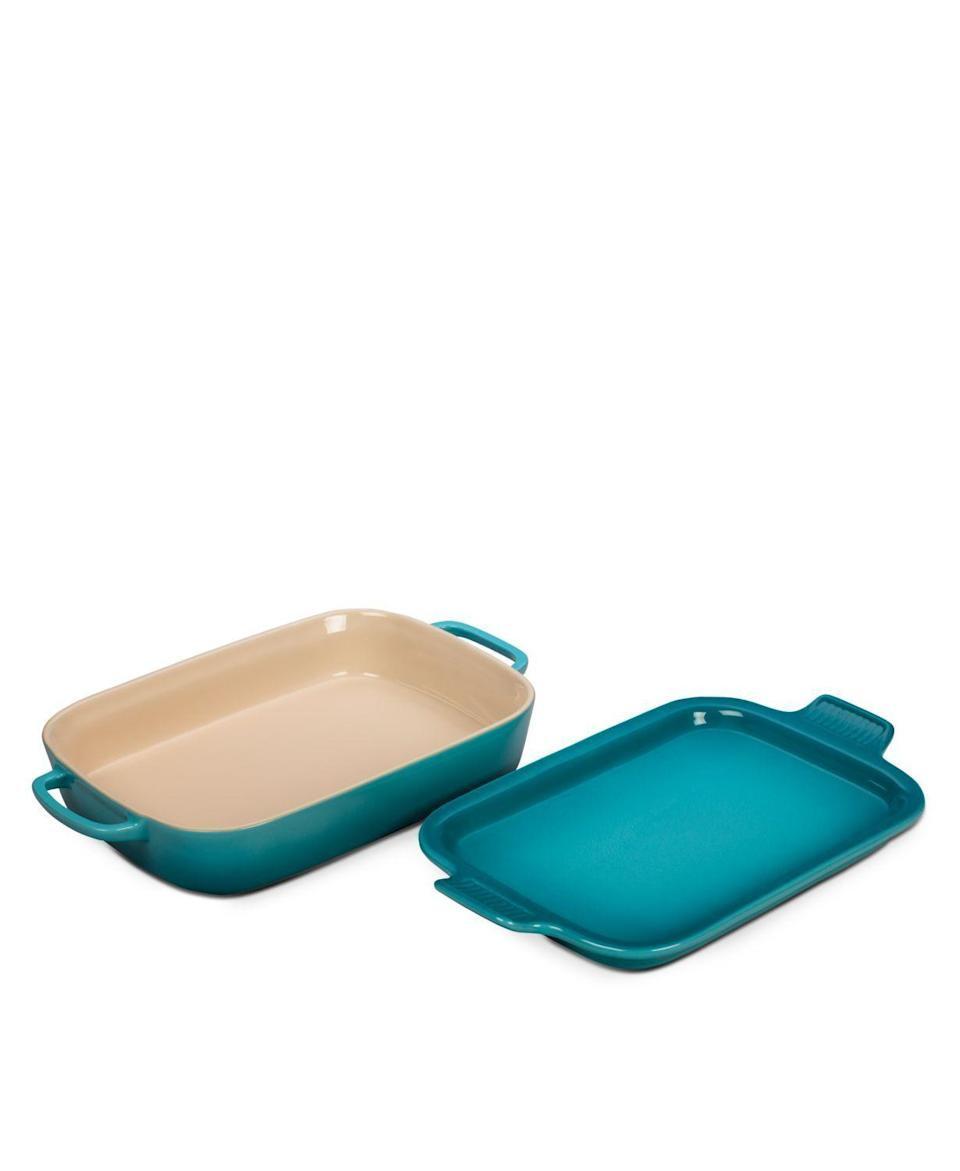 """<p><strong>Le Creuset</strong></p><p>bloomingdales.com</p><p><strong>$84.99</strong></p><p><a href=""""https://go.redirectingat.com?id=74968X1596630&url=https%3A%2F%2Fwww.bloomingdales.com%2Fshop%2Fproduct%2Fle-creuset-rectangular-dish-with-platter-lid%3FID%3D1700580&sref=https%3A%2F%2Fwww.housebeautiful.com%2Fshopping%2Fg37134685%2Fbest-wedding-gifts%2F"""" rel=""""nofollow noopener"""" target=""""_blank"""" data-ylk=""""slk:BUY NOW"""" class=""""link rapid-noclick-resp"""">BUY NOW</a></p><p>The happy couple will reach for a convenient casserole dish when they run out of takeout options and won't regret it! And this platter in particular does double duty: To use it. evenly spread vegetables in the dish, protein on the top lid, and violà. Dinner is served. </p>"""