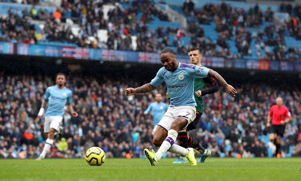 Manchester City's Raheem Sterling scores his side's first goal of the game during the Premier League match at the Etihad Stadium, Manchester. (Photo by Martin Rickett/PA Images via Getty Images)