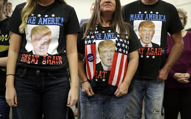 Trump supporters before a rally in Council Bluffs, Iowa. (Photo: John Locher/AP)