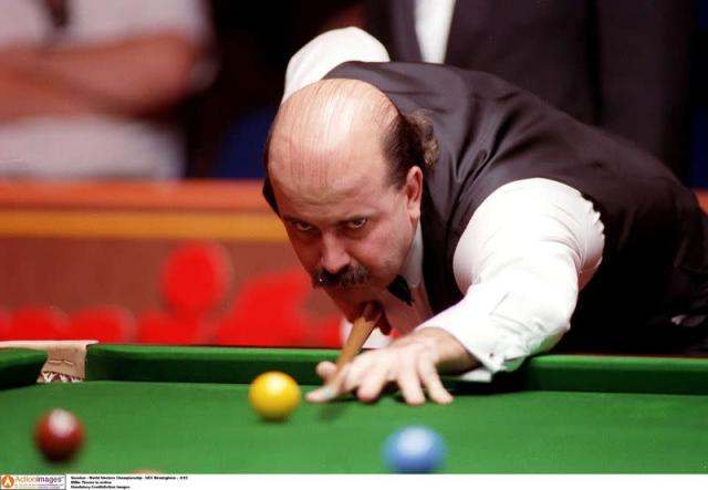 FILE PHOTO: Willie Thorne in action at World Masters Championship, 1993