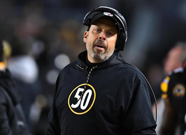 <p>Pittsburgh Steelers offensive coordinator Todd Haley wears a shirt honoring Ryan Shazier #50 who was injured in a game last week in the first quarter during the game against the Baltimore Ravens at Heinz Field on December 10, 2017 in Pittsburgh, Pennsylvania. (Photo by Joe Sargent/Getty Images) </p>
