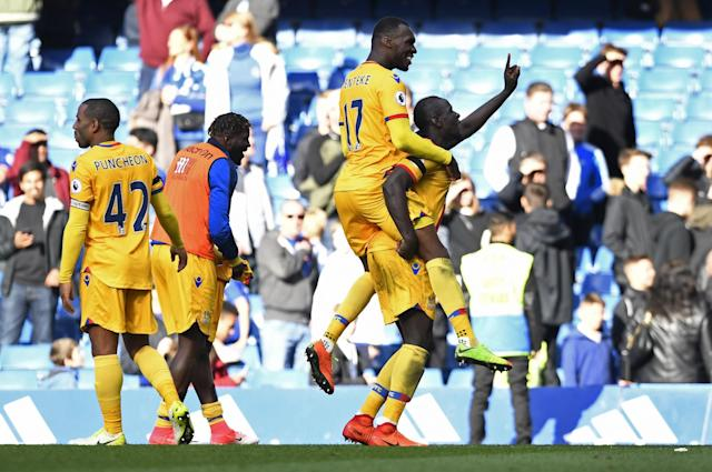 <p>Crystal Palace's Mamadou Sakho and Christian Benteke celebrate after the match </p>