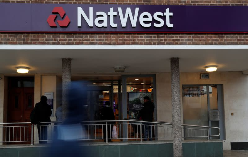 FILE PHOTO: The logo of NatWest Bank, part of the Royal Bank of Scotland group is seen outside a branch in London