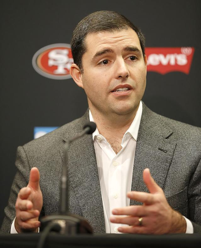San Francisco 49ers owner Jed York speaks during a news conference at 49ers football headquarters in Santa Clara, Calif., Monday, Dec. 29, 2014. (AP Photo/Tony Avelar)