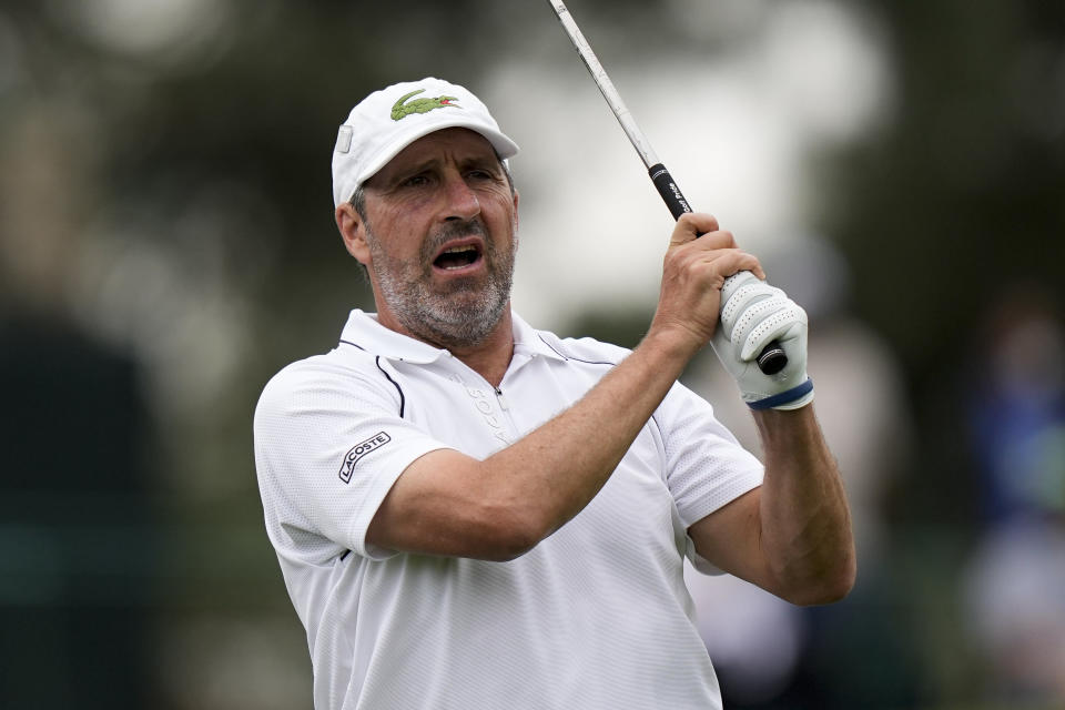 Jose Maria Olazabal, of Spain, reacts to his tee shot on the third hold during the second round of the Masters golf tournament on Friday, April 9, 2021, in Augusta, Ga. (AP Photo/David J. Phillip)