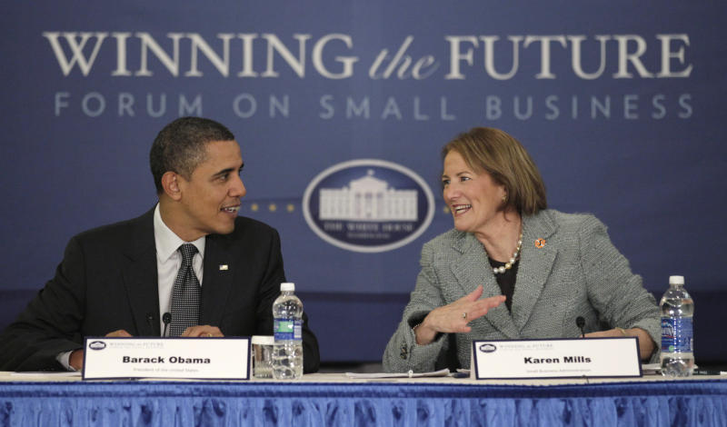 President Barack Obama and Small Business Administration (SBA) Administrator Karen Mills participate in a breakout session during the Winning the Future Forum on Small Business at Cleveland State University in Cleveland, Tuesday, Feb. 22, 2011. (AP Photo/Carolyn Kaster)
