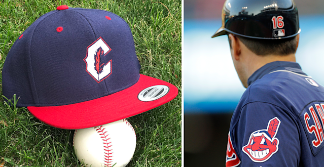 The C-Feather logo is one alternative the Indians have now that Chief Wahoo has been exiled by MLB. (AP)
