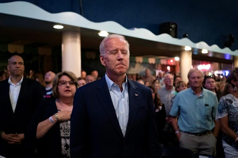 Democratic 2020 presidential candidate Joe Biden, who has faced a series of attacks by President Donald Trump, has seen support for him erode in the early voting state of Iowa, polls show (AFP Photo/ALEX EDELMAN)