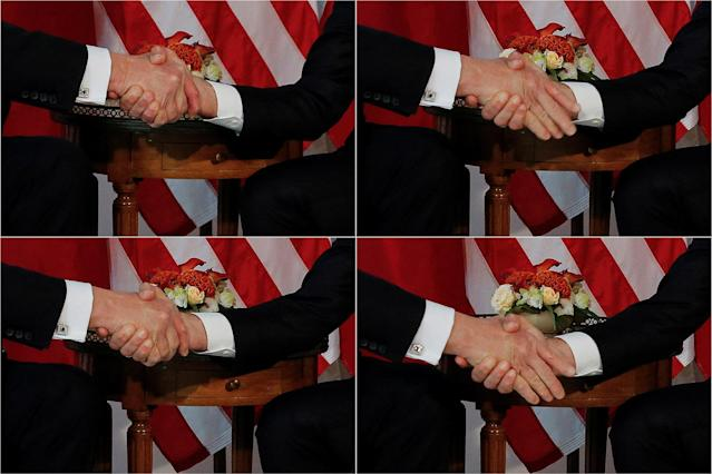 <p>A combination photo shows U.S. President Donald Trump (L) trying twice to let go of a handshake with France's President Emmanuel Macron (R) as Macron holds tight, before a working lunch ahead of a NATO Summit in Brussels, Belgium, May 25, 2017. (Photo: Jonathan Ernst/Reuters) </p>