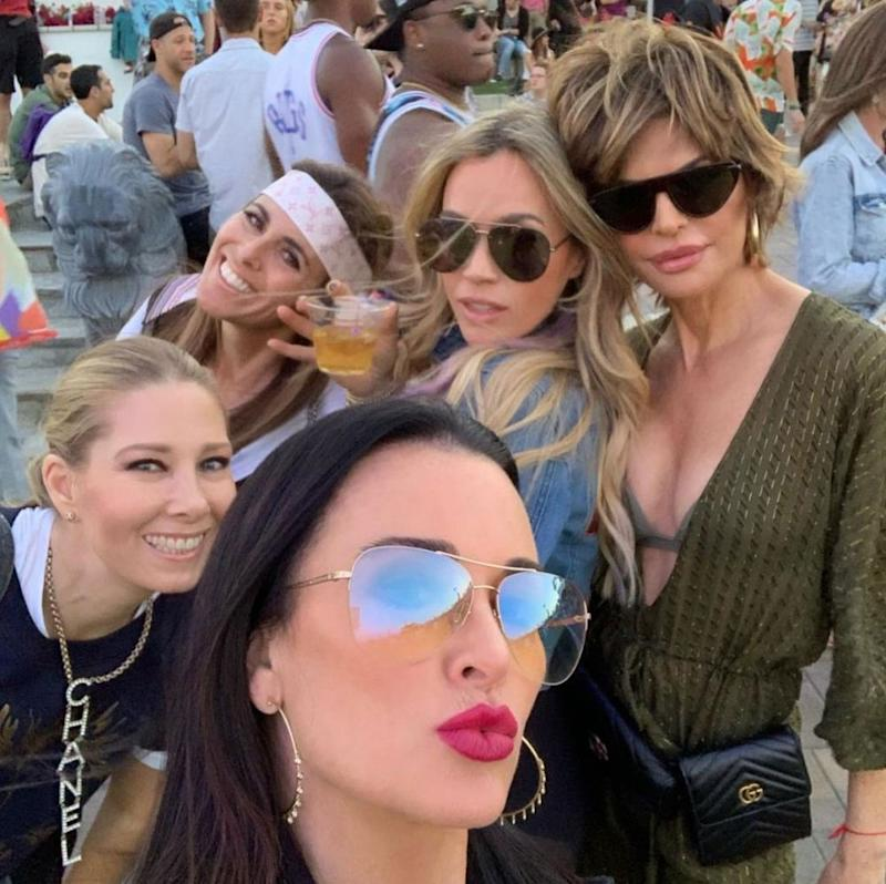 Kyle Richards and Lisa Rinna with their RHOBH costars | Kyle Richards/Instagram
