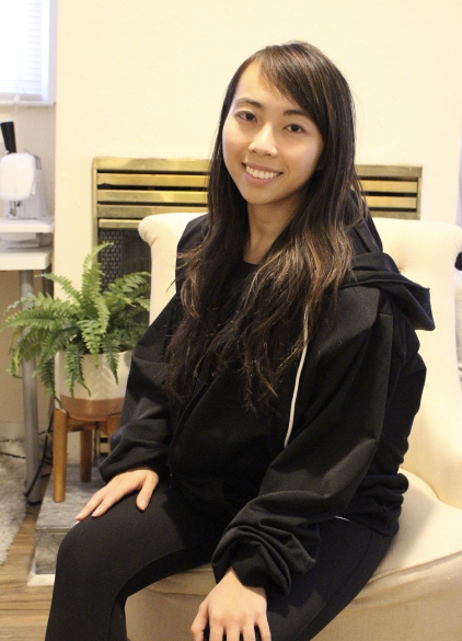 Vy Tran in one of her bulletproof Wonder Hoodies | Courtesy: Vy Tran
