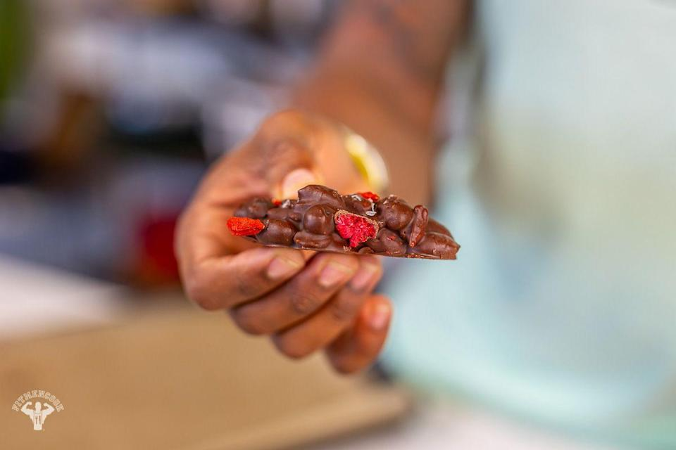 """<p>Made with stevia and smooth almond butter, these guilt-free treats are the perfect balance between melt-in-your-mouth and crunchy.</p><p><a class=""""link rapid-noclick-resp"""" href=""""https://fitmencook.com/dark-chocolate-almond-butter-clusters-berries/"""" rel=""""nofollow noopener"""" target=""""_blank"""" data-ylk=""""slk:GET THE RECIPE"""">GET THE RECIPE</a></p><p><em>Per serving: 151 calories, 13 g fat, 12 g carbs, 5 g fiber, 2 g sugar, 4 g protein</em></p>"""