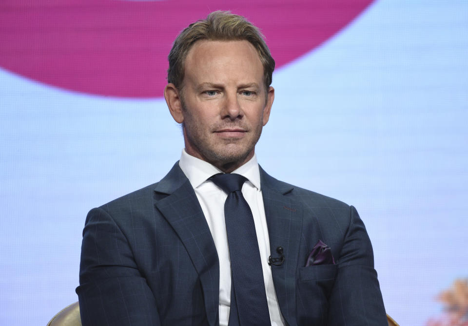 """Ian Ziering participates in Fox's """"BH90210"""" panel at the Television Critics Association Summer Press Tour on Wednesday, Aug. 7, 2019, in Beverly Hills, Calif. (Photo by Chris Pizzello/Invision/AP)"""