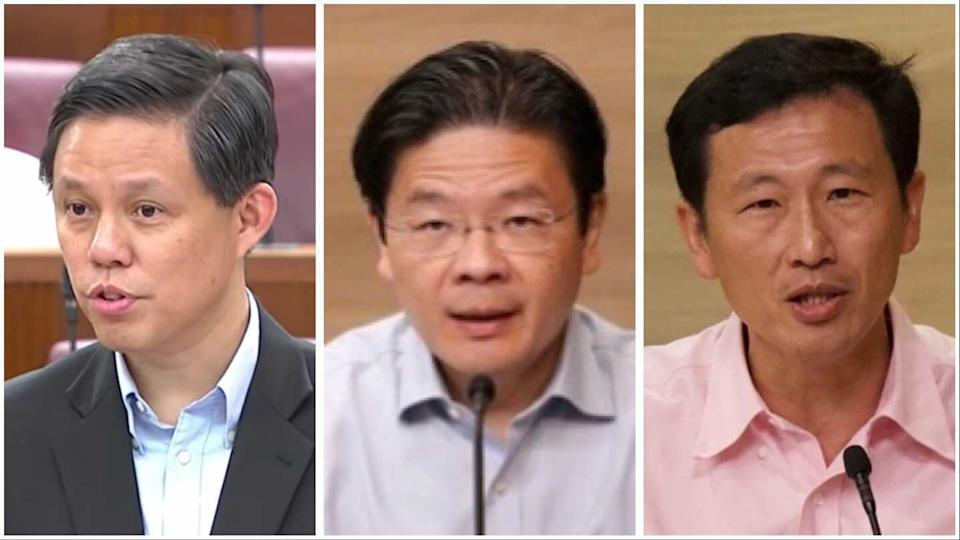 (L-R) Trade and Industry Minister Chan Chun Sing, Education Minister Lawrence Wong, and Transport Minister Ong Ye Kung will assume new ministerial posts. (PHOTO: Yahoo News Singapore/MCI/Gov.sg)