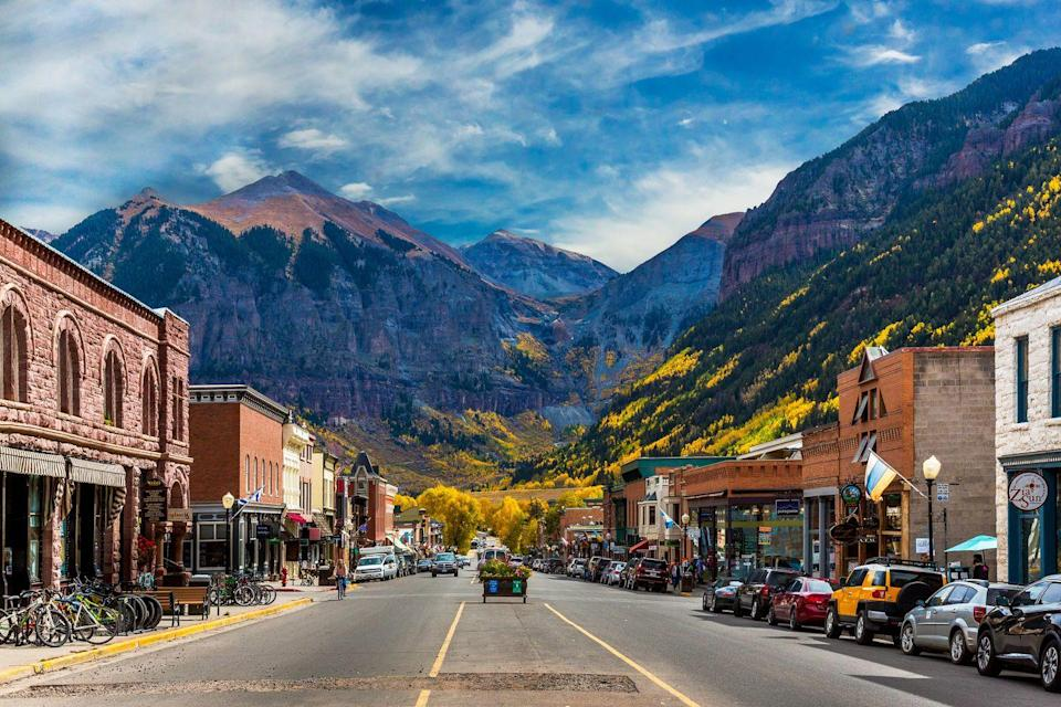 <p>Telluride's main street (technically named Colorado Avenue) is one of the most beautiful in the country, nestled snugly between the peaks of the San Juan Mountains. </p>