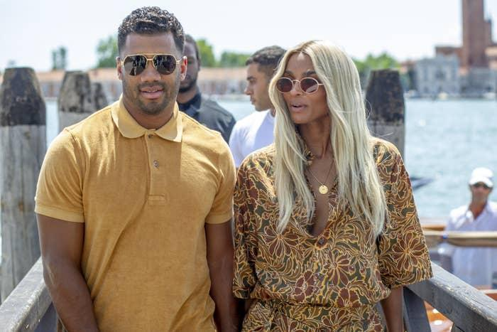 Russell Wilson and Ciara arrive at the Resturant Al Corvo on July 03, 2021 in Venice, Italy