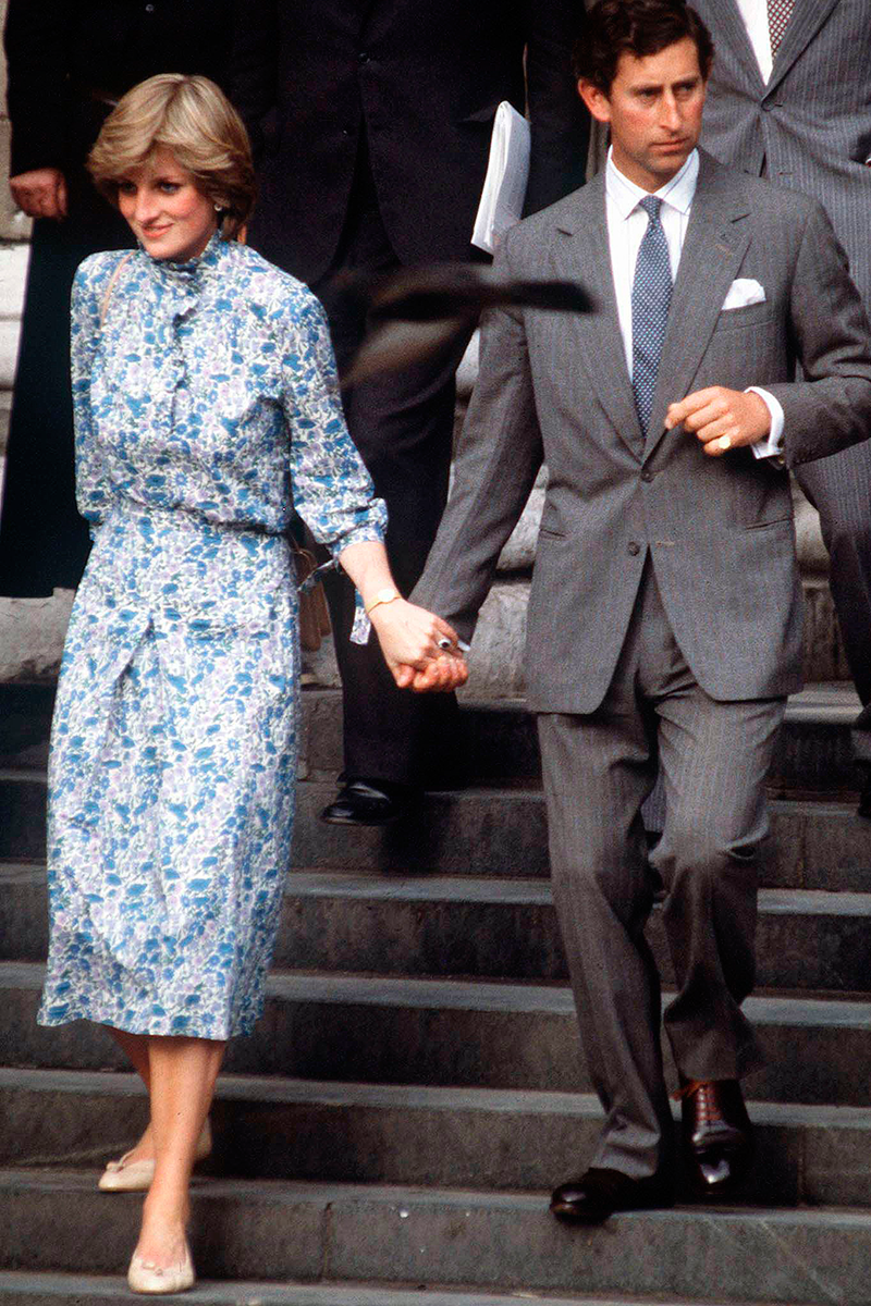 <p>Another look recreated in The Crown is Di's floral midi dress and natural ballet flat combo, worn by the soon-to-be-royal at her wedding rehearsal with Charles.</p>
