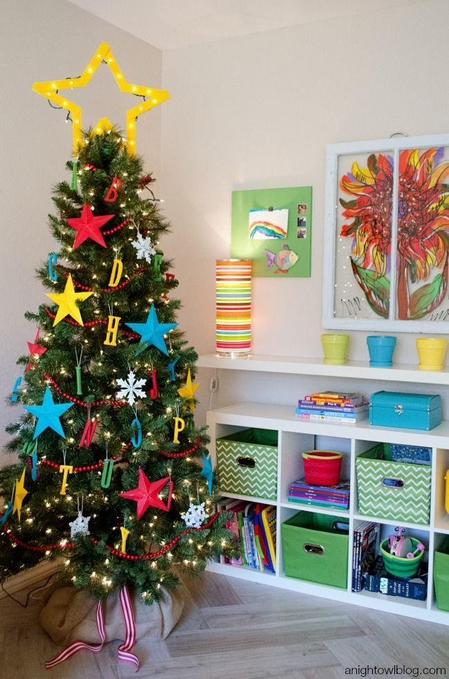 """<p>If you've got some extra-eager students at home, sneak in some reading practice during holiday break by hanging letters of the alphabet in primary colors.</p><p><em><a href=""""http://anightowlblog.com/2014/11/abc-kids-christmas-tree.html/"""" rel=""""nofollow noopener"""" target=""""_blank"""" data-ylk=""""slk:See more at A Night Owl »"""" class=""""link rapid-noclick-resp"""">See more at A Night Owl »</a></em></p>"""