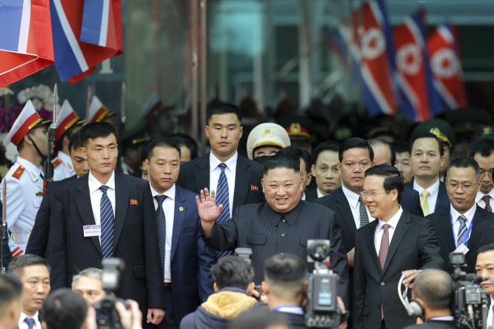 In this Feb. 27, 2019, photo,North Korean leader Kim Jong Un waves upon arrival by train in Dong Dang in Vietnamese border town, ahead of his second summit with U.S. President Donald Trump. (AP Photo/Minh Hoang, File)