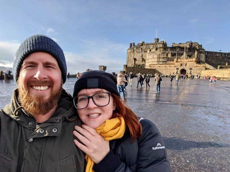 Stranded: Amy Webster, originally from Brisbane, and fiancé Ben Goodwin, originally from South Australia, pictured in Edinburgh. (Photo: Amy Webster )