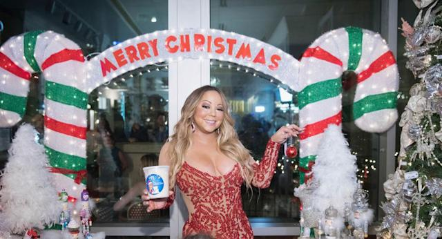 Mariah Carey launches her Christmas line … in September. (Photo: Mat Hayward/Getty Images for Sugar Factory American Brasserie)