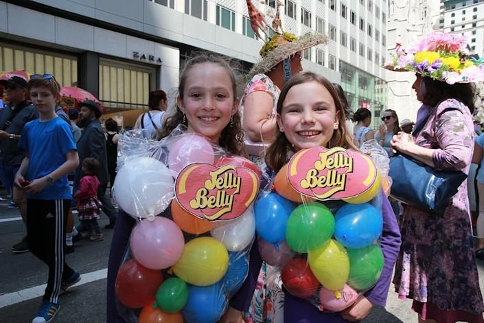 <p>Parade participants wear costume of a bag of jellybeans during the 2017 New York City Easter Parade on April 16, 2017. (Photo: Gordon Donovan/Yahoo News) </p>