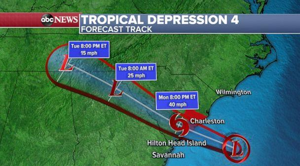 PHOTO: A weather map shows forcasted track of a tropical depression expected to hit the southeast coast of the U.S, June 28, 2021. (ABC News)