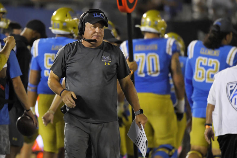 UCLA coach Chip Kelly stands on the sideline during the second half of an NCAA college football game against Oklahoma on Saturday, Sept. 14, 2019, in Pasadena, Calif. (AP Photo/Mark J. Terrill)