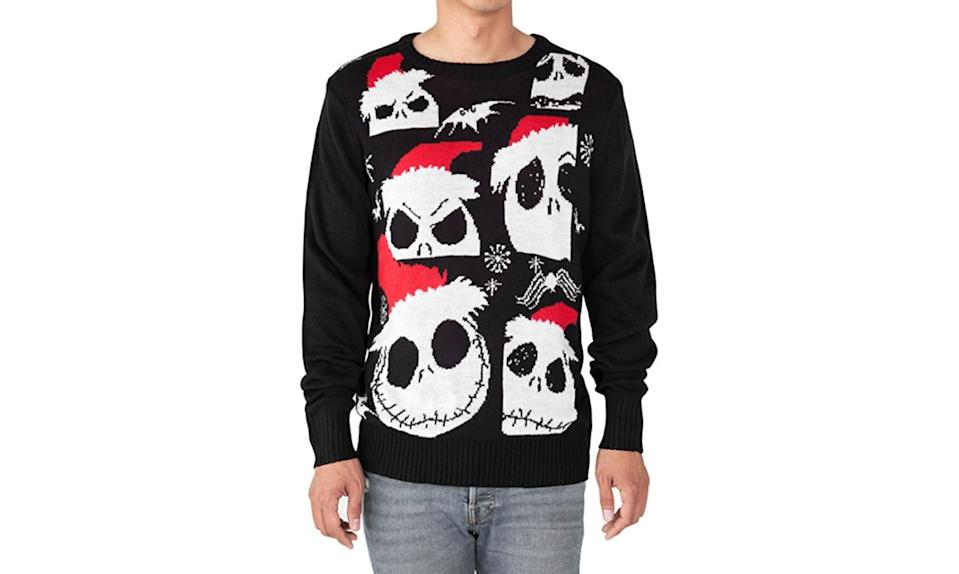 """<p>Jack Skellington's always seemed more Halloween than Christmas to us, but there's no denying he's ugly Christmas sweater appropriate in this red and black number. <a rel=""""nofollow noopener"""" href=""""https://www.amazon.com/Disney-Skellington-Sweater-Nightmare-Christmas/dp/B074PH9MHJ/ref=pd_sim_193_1?_encoding=UTF8&refRID=8VYB2Z7FZBCF1Q9E5HGH"""" target=""""_blank"""" data-ylk=""""slk:Buy here"""" class=""""link rapid-noclick-resp""""><strong>Buy here</strong></a> </p>"""