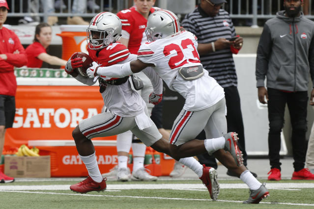 Ohio State receiver Demario McCall, left, is run out of bounds by safety Jahsen Wint during their NCAA college spring football game Saturday, April 14, 2018, in Columbus, Ohio. (AP Photo/Jay LaPrete)