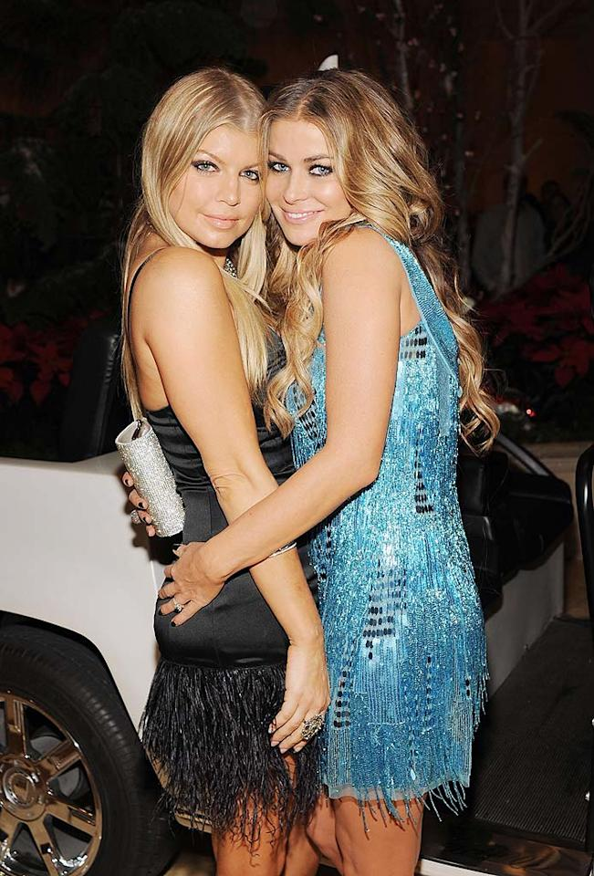 """Fergie and Carmen Electra rocked fringed frocks for New Year's Eve. Denise Truscello/<a href=""""http://www.wireimage.com"""" target=""""new"""">WireImage.com</a> - December 31, 2008"""
