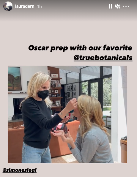 Laura Dern shared a behind the scenes look at her beauty routine ahead of the Oscars red carpet. Image via Instagram/LauraDern.