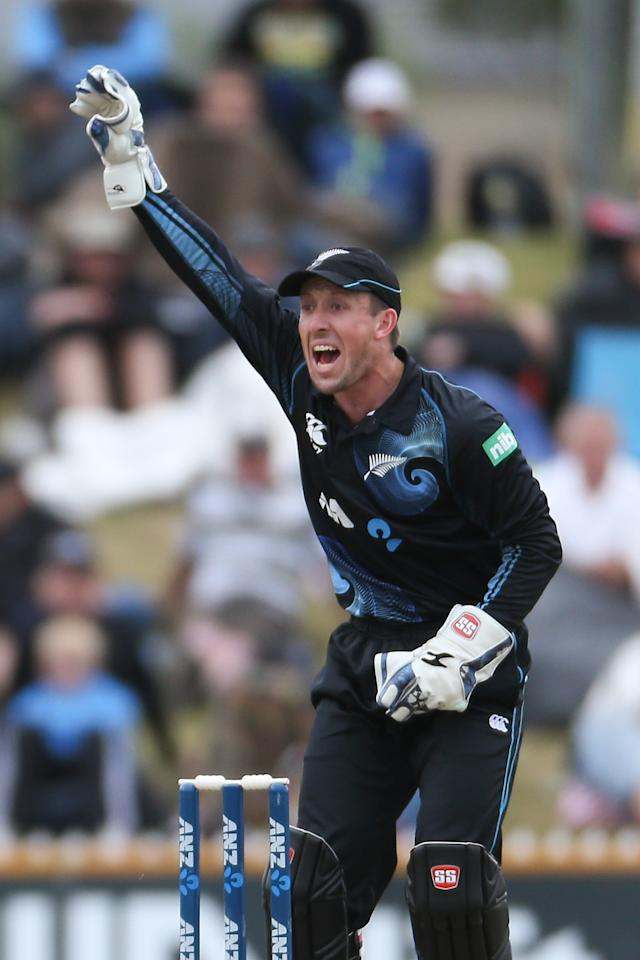 NELSON, NEW ZEALAND - JANUARY 04:  Luke Ronchi of New Zealand appeals unsuccessfully for a wicket during game four of the One Day International Series between New Zealand and the West Indies at Saxton Field on January 4, 2014 in Nelson, New Zealand.  (Photo by Martin Hunter/Getty Images)