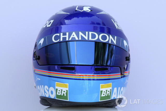"Casco de Fernando Alonso en 2018 <span class=""copyright"">Sutton Motorsport Images</span>"