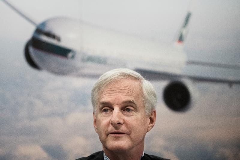 Cathay Pacific chairman John Slosar speaks during a press conference in Hong Kong on August 19, 2015 (AFP Photo/Philippe Lopez)