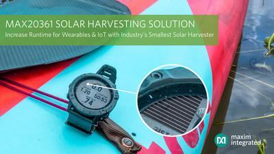 Increase the runtime of space-constrained wearable and IoT applications with the MAX20361 single-/multi-cell solar harvester, the industry's smallest solar harvesting solution.