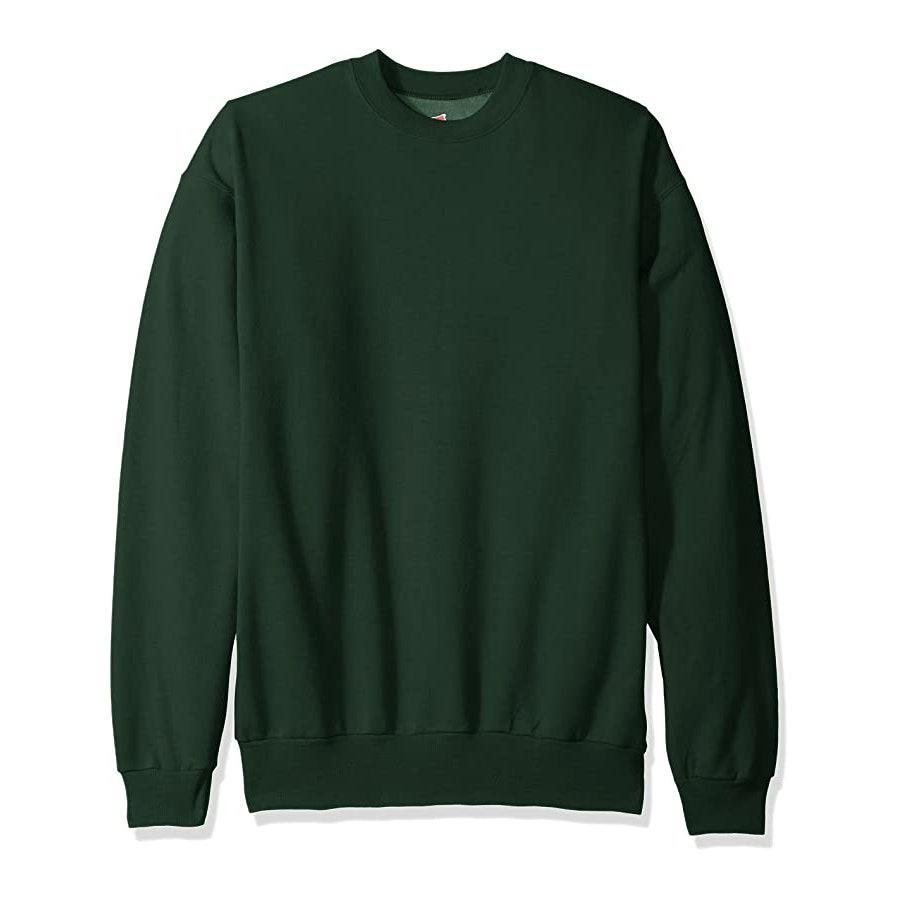 """Hanes' sweatshirts are as basic as they come, and that's why people love them. We're into this forest green shade, but there's 25 other colors to choose from—black, grey, and a moody burgundy included. $26, Amazon. <a href=""""https://www.amazon.com/Hanes-Ecosmart-Fleece-Sweatshirt-Forest/dp/B01L8JJAGG/ref=zg_bs_fashion_home_1?th=1"""" rel=""""nofollow noopener"""" target=""""_blank"""" data-ylk=""""slk:Get it now!"""" class=""""link rapid-noclick-resp"""">Get it now!</a>"""